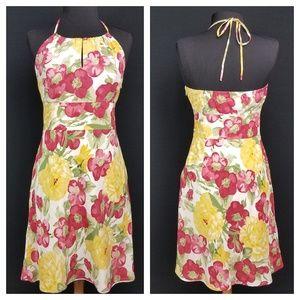Ann Taylor Loft 100% silk Sundress Halter Tie Neck